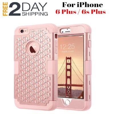 iPhone 6s Plus Hard Case Cover Glitter Bling Hybrid Shockproof Soft Rubber New