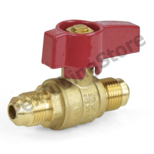 """3/8"""" Flare Brass Gas Shut-Off Ball Valve, Natural-NG or Propane-LP, CSA Approved"""