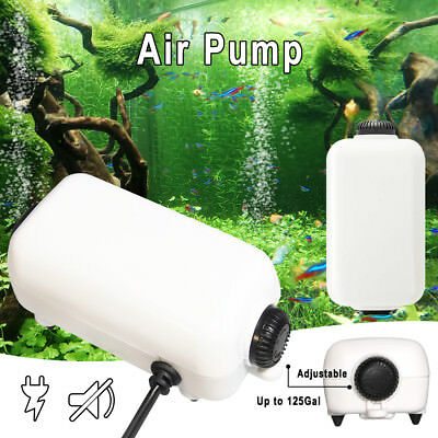 Aquarium Air Pump For 10 To 100 Gallon Silent Fish Tank Quiet Air Flow 65GPH