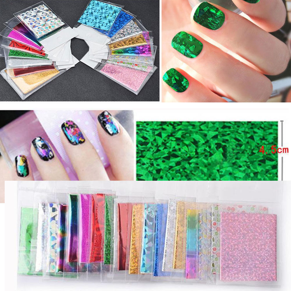 50Pcs Foils Finger DIY Nail Print Sticker Decal Water Transfer Stickers Tips rt