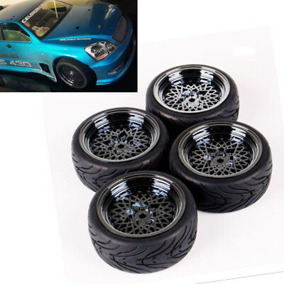 HSP HPI RC 1/10th Scale On-Road Touring Car Rubber Tyres and Wheel 4PCS