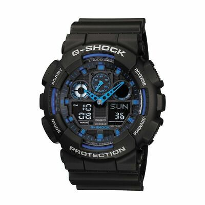 Casio G-SHOCK GA100-1A2 Standard Analog-Digital Black & Blue 200m Men's Watch comprar usado  Enviando para Brazil