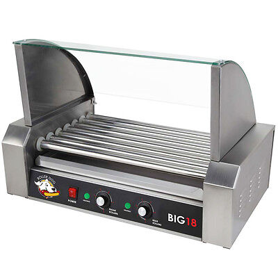 Roller Dog Commercial 18 Hot Dog 7 Roller Grill Cooker Machine - RDB18SS
