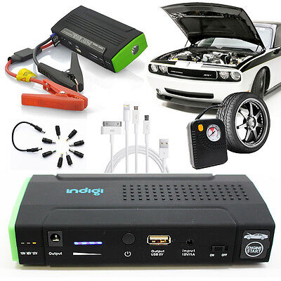 Most Powerful Portable Car Jump Starter Power Bank Flat Tire Air Pump Station