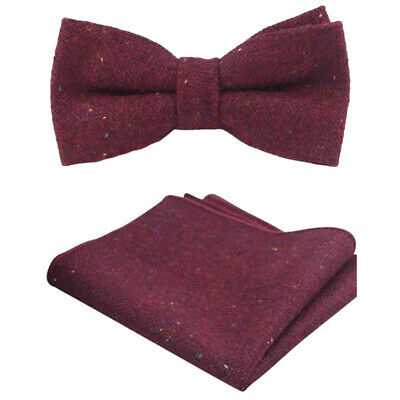Red Pocket Review (New Burgundy Red Tweed Wool Pre-Tied Bow Tie & Pocket Square Set. Great)