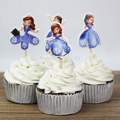 24pcs Princess Sofia Cupcake Cake Toppers Decor Girl Kids Birthday Party Cartoon