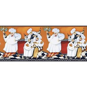 New CHEFS PREPASTED WALLPAPER A Cookin BORDER Fat Chef   Kitchen Cafe Wall  Decor
