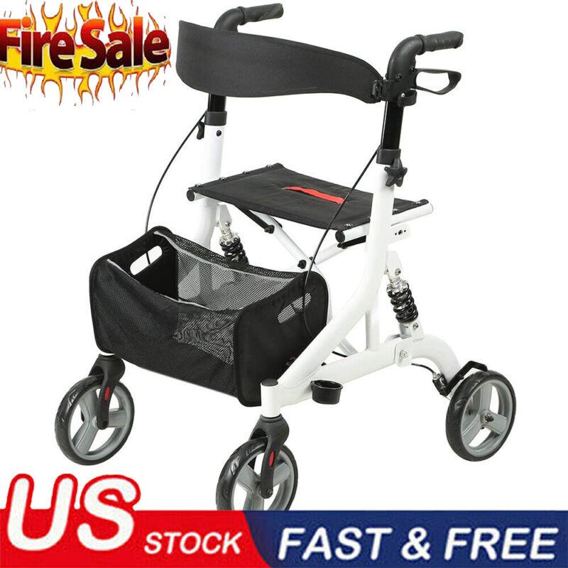 2020 Walker Upright Rollator Walker Medical Aid Seat Back 4 Wheel LightWeight US