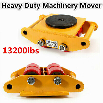 6t Heavy Duty Industrial Dolly Skate Machinery Roller Mover Cargo Trolley New