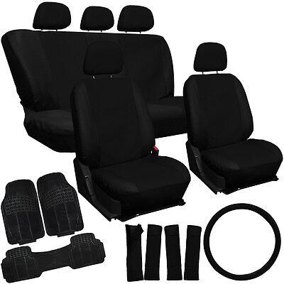 21pc PU Faux Leather Black SUVs Seat Cover Heavy Duty Rubber Carpet Floor Mats