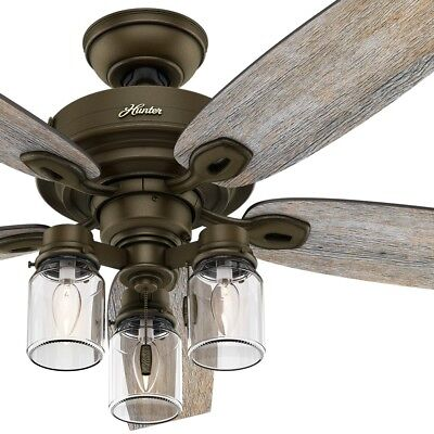 """Hunter 52"""" Regal Bronze Ceiling Fan with 3-Lights and Mason-Jar Glass Shades"""