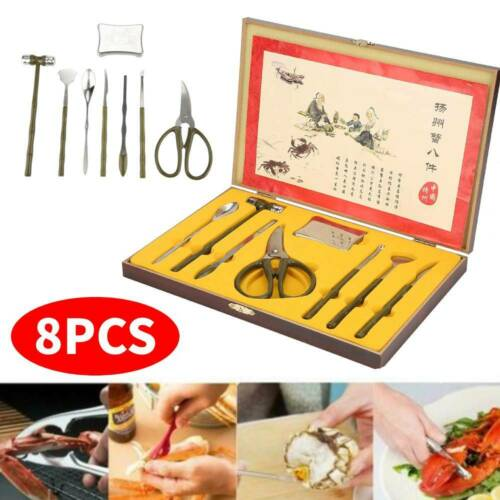 8PCS Forks Nut Claw Tool Vintage Seafood Tool Set Lobster Cr