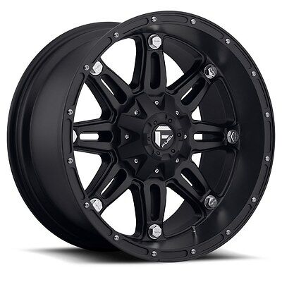 "18"" Fuel Hostage Black Wheels 35"" Atturo MT Tires Package 6x5.5 6x135 Chevy Ford"