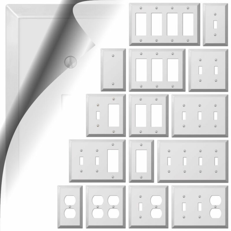 Polished Chrome Switch Plate Century Metal Wallplate Cover Outlet Toggle Rocker