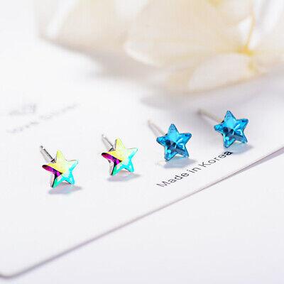 Ladies Fashion 925 Sterling Silver Austrian Crystal Star Ear Stud Earrings -