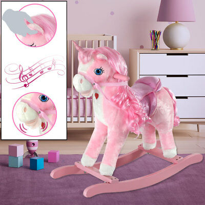 Kinder Spiel Zimmer Einhorn Schaukel Pferd Mädchen Spielzeug rosa Sound Effekt