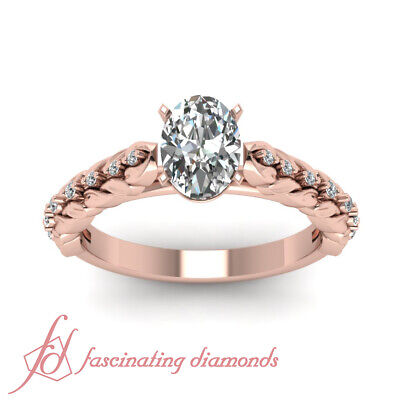 .65 Ct Oval Shaped Rose Gold Unique Diamond Engagement Ring GIA Ring Size 4-10 1