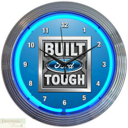 FORD BUILT TOUGH Trucks 15 Neon Wall Clock Glass Face Chrome Plate Warranty New