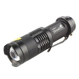 Mini 7W Zoomable Black Metal 300 Lumen CREE Q5 LED Flashlight Torch By AA/14500
