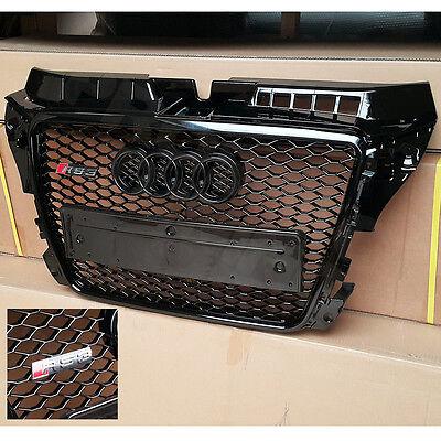 PT A3 S3 8P RS3 Grille Gloss Black Frame Rings Honeycomb Mesh Facelift 08 - 12