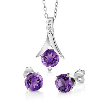 "2.25 Ct Round Purple Amethyst 925 Silver Pendant and Earrings Set 18"" Chain"