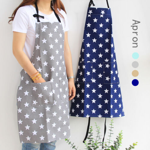 women stars apron with pocket cotton linen