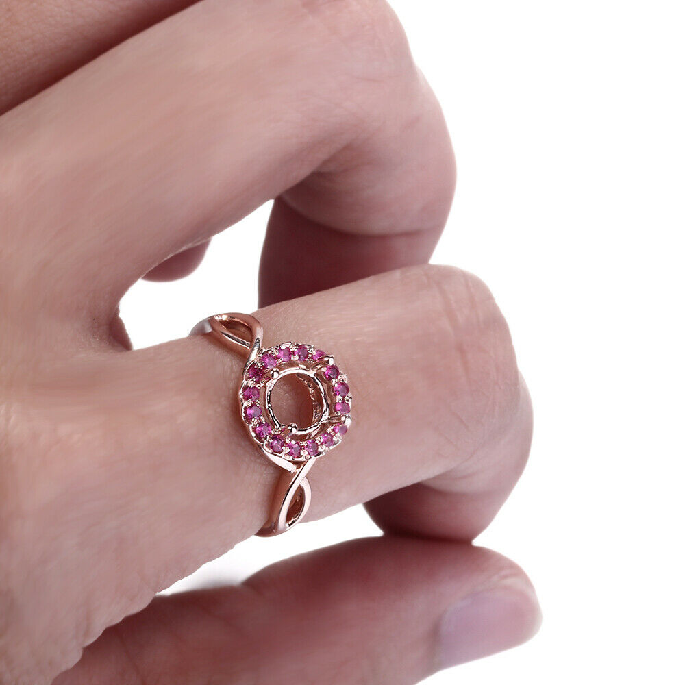 6.5-7mm Round Cut Solid 10k Rose Semi-Mount Engagement Natural ...