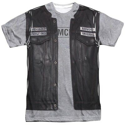 Sons Of Anarchy Leather Vest Jacket Costume Outfit Uniform Allover Front T Shirt