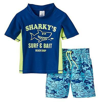 Carter's Boys Infant Navy Rash Guard Top 2pc Swim Short Set