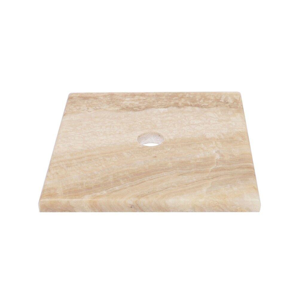 WOHNFREUDEN Naturstein Onyx Waschtisch-Platte Unterbau für Aufsatzbecken 40x40cm