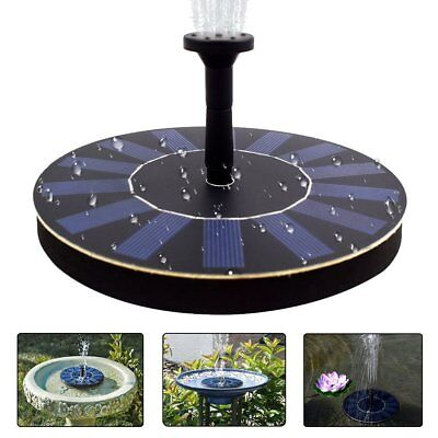 Outdoor Solar Powered Bird Bath Water Fountain Pump for Pool Garden 4 Sprinklers
