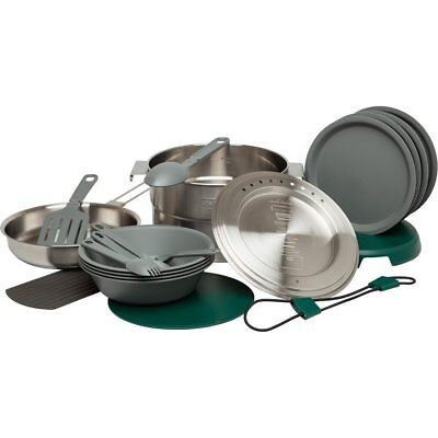 Camping Dish Set Outdoor Hiking Pot Pan Spatula Silicone Spoon Stainless Steel