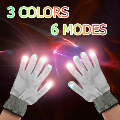 1Pair Halloween LED Glowing Gloves 3 Colors Bar Stage Props Toys Falshing Gloves ()