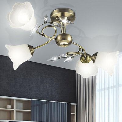 Design Messing Decken Lampe Wohn Ess Schlaf Zimmer Leuchte Büro Flur Antik Glas