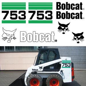 Bobcat 753 v2 Skid Steer Set Vinyl Decal Sticker bob cat MADE IN USA