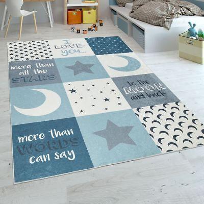 Kinderteppich Kinderzimmer Jungen Waschbar Herzen Sterne Mond Spruch Blau Grau ()