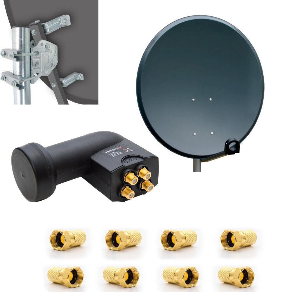 Digitale 4K HD Sat Anlage 80cm Schüssel Spiegel Antenne + Quad LNB 4 Teilnehmer