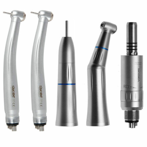 USA 4 Hole Dental Contra Angle Low Speed Kit Inner Spray + High Speed Handpiece