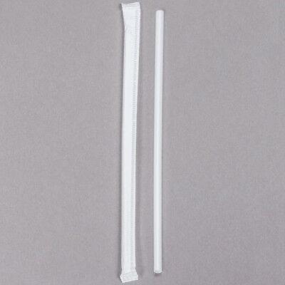 "500 Ct Box 5 3/4"" Slim White Wrapped School Milk Straws"