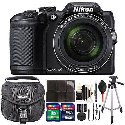 Nikon COOLPIX B500 16MP Built-in Wi-Fi Digital Camera Black + 24GB Accessory Kit