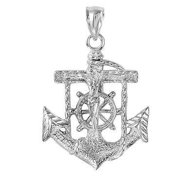 Sterling Silver Mariner's Anchor Crucifix Cross Pendant, Made in USA