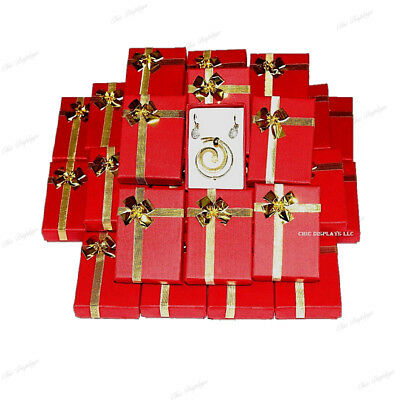 Lot Of 72 Red Wholesale Jewelry Boxes Earring Boxes Bow-tie Box Pendant Boxes