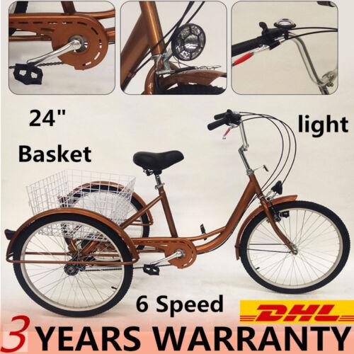 "Adult 24"" 3Wheel 6Speed Tricycle Trike Bicycle Bike Cruise B"
