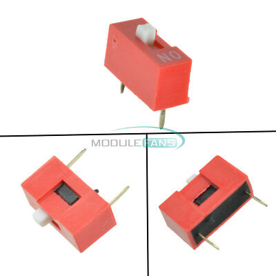10pcs Red 2.54mm Pitch 1 Position Way 1-bit Slide Type Dip Switch Module New