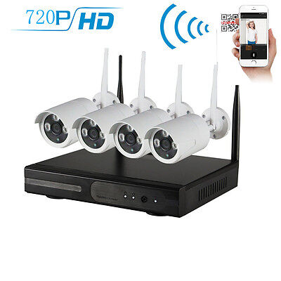 Wireless 4CH 720P NVR DVR Home CCTV Security System Indoor/Outdoor IR Cameras US