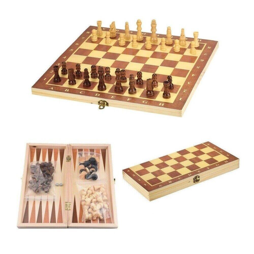3 in 1 Spielset Schach Backgammon Dame Spielfiguren Würfel Spielbrett Holz 34x34