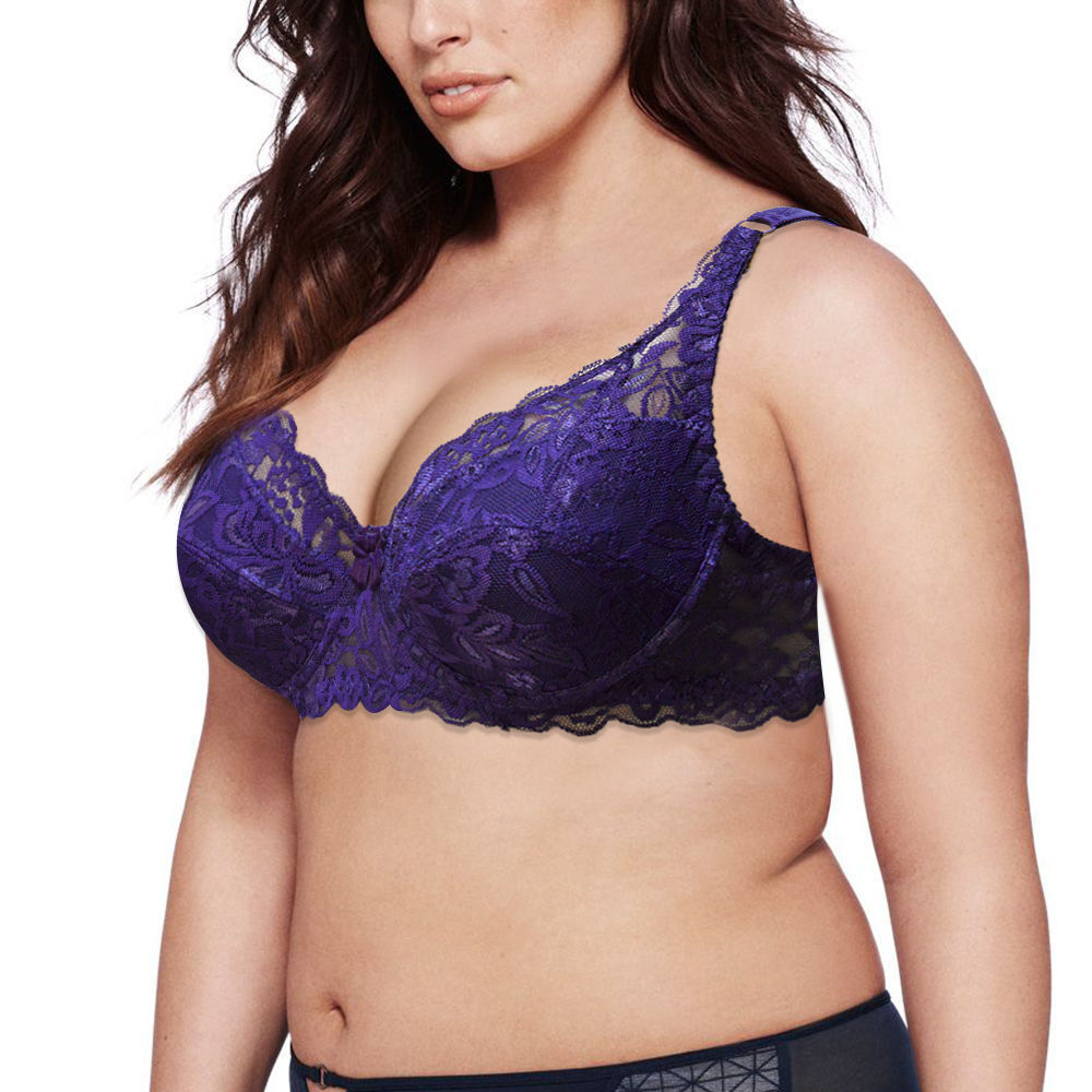 33b30fb54cd86 Floral Sheer Lace Bra Embroidery Deep V Plunge Push Up Bra Plus Size ABCDEF  Cups