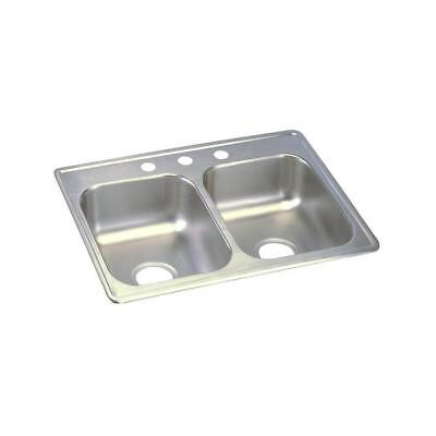 Elkay Dayton Drop-In Stainless Steel 25 in. 3-Hole Double Bowl Kitchen -