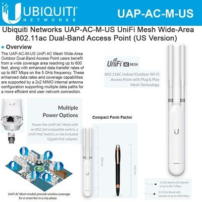 Ubiquiti Networks UAP-AC-M-US UniFi AC Mesh AP Network Access Point