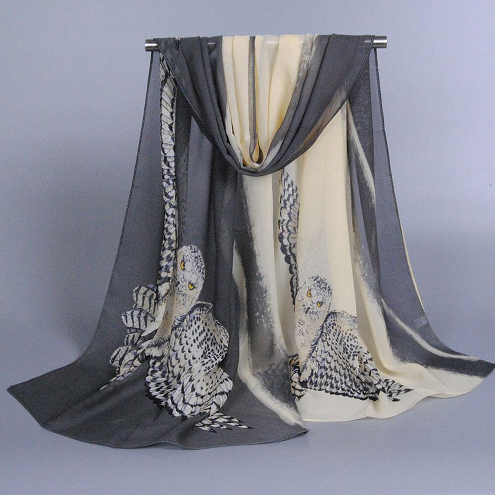 Scarf - New Fashion Women Owl Printed Soft Chiffon Scarf Wrap Silk Shawl Scarves Stole
